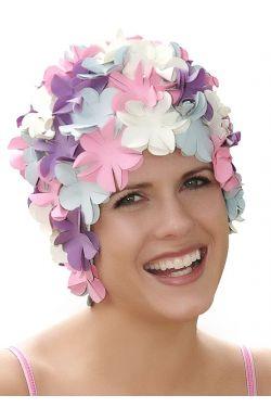 Retro Petal Flower Swim Caps   Cupcake