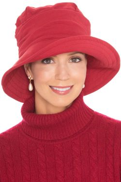 Cardani UPF 50+ Pleated Hat in Red| 100% Cotton with Aloe Vera Lining
