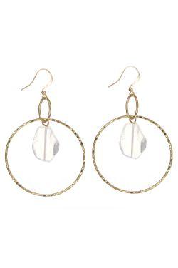 Gemstone Loop Drop Earrings   Semi-Precious Gemstone Earrings