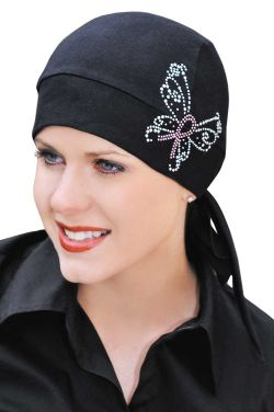 100% Cotton Knit Headwrap with Pink Ribbon Butterfly