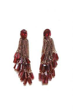 Ruby Crystal Tassel Earrings | Nickel & Lead Free Earrings