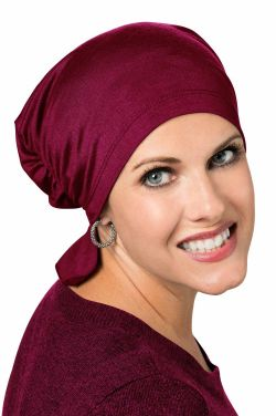 Bamboo Viscose Scarf Beanie in Bordeaux| Cardani Beanie for Chemo or Hair Loss