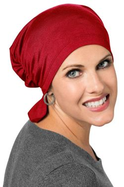 Bamboo Viscose Scarf Beanie in Red | Cardani Beanie for Chemo or Hair Loss