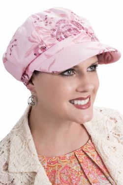Floral Sequin Newsboy Hat