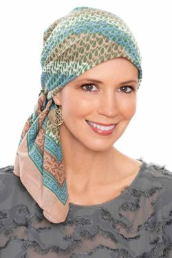 "Sierra Swirl | 100% Cotton Woodblock Hand Stamped Head Scarves | 36"" Square Head Scarf"