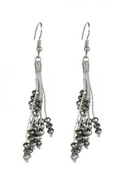 Silver Chains & Beads Tassel Earrings | Nickel Free & Hypoallergenic Earrings |