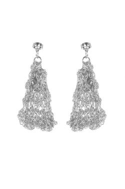 Hand Crocheted Sterling Silver Plated Chainmaille Statement Earrings