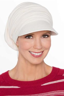 Cardani Ribbed Bamboo Viscose Slouchy Newsboy Hat | Slouch Hats for Women