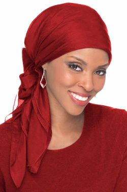 Solid Silk Square Head Scarf in Cabernet | 100% Silk Scarves for Head