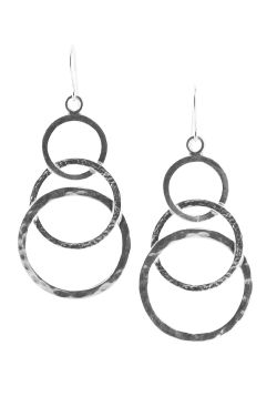 Sterling Silver Earrings | Hammered Hoop Statement Earrings