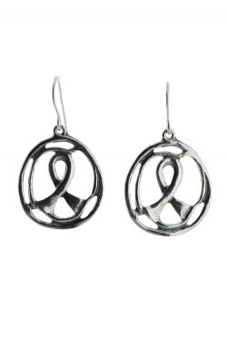 Sterling Silver Earrings | Awareness Ribbon Circle Earring