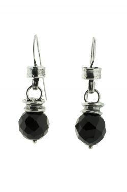 Sterling Silver Earrings | Black Onyx Drop Bead