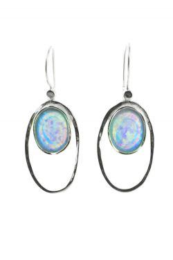 Sterling Silver Earrings | Double Oval Opalite