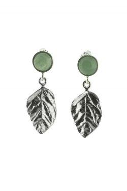 Sterling Silver Earrings | Jadeite Leaves |