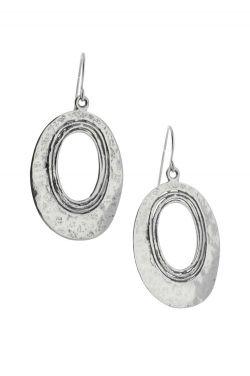 Sterling Silver Earrings | Hammered Oval Statement Earrings |