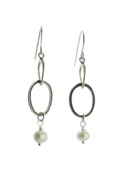 Sterling Silver Earrings | Ovals with Drop Pearls