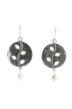 Sterling Silver Earrings | Oxidized Vine with Drop Pearl