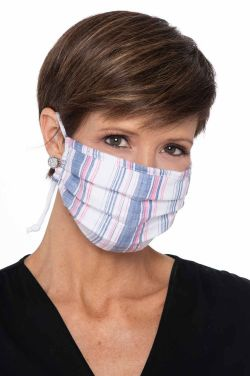 ACCORDION Face Mask | Woven Blue and Pink Stripes |