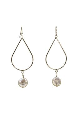 Surgical Steel Earrings | Silver Teardrop with Drop Pearl Earrings