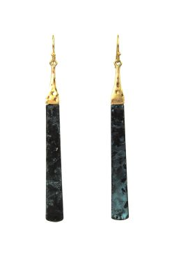 Gold Plated Surgical Steel Earrings | Egyptian Gold & Verdigris Drop Earrings |