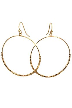 Surgical Steel Earrings | Gold Beaded Drop Hoops