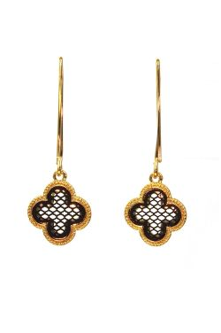 Gold & Black Quatrefoil Drop Earrings | Gold Plated Stainless Steel Earrings
