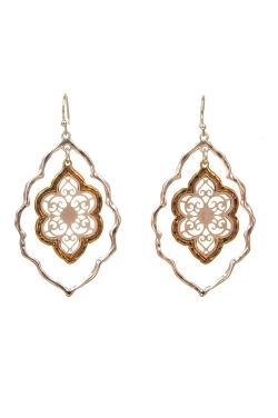 Gold & Rhodium Plated Stainless Steel Earrings | Filigree Window Dangle Earrings