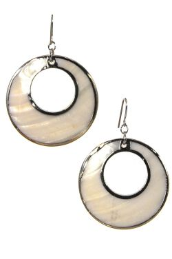 Surgical Steel Earrings | Mod Mother of Pearl Hoop Earrings