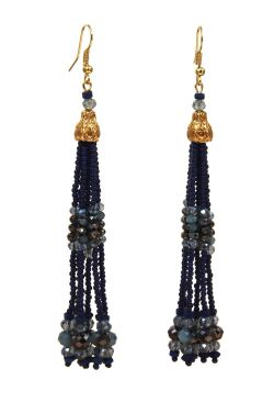 Navy Beaded Tassel Earrings | Gold Plated Surgical Steel Earrings