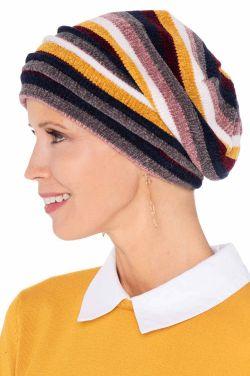 Striped Chenille Sweater Knit Snood | Snuggly Soft Fall & Winter Beanie |