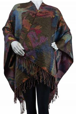 Tapestry Print Fringe Ruana | Cozy Wraps for Women