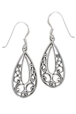Sterling Silver Teardrop Filigree Earrings - Hypoallergenic |
