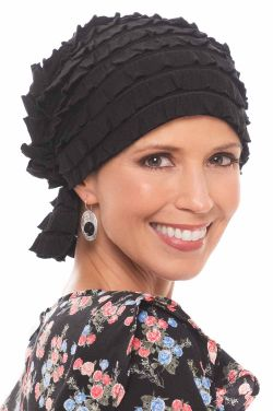 Textured and Ruffled Chemo Scarf Beanie | Chemo Slip on Headcovering