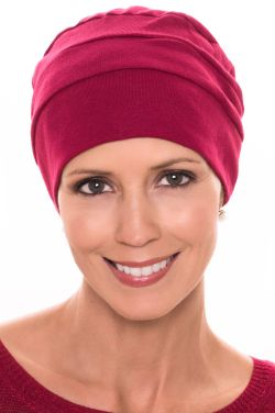 Three Seam Turban in Cabernet |100% Cotton Hat