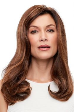 18 Inch Top Form French HH Topper by Jon Renau Wigs - Remy Human Hair, Hand Tied, Monofilament Base Topper
