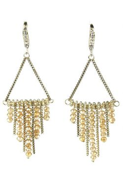 Gold Plated Triangle Dangle Earrings with Swarovski Crystal Drops | Nickel Free