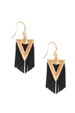Tribal Triangle Leather Fringe Earrings | Nickel Free & Hypoallergenic Earrings