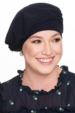 Cardani® Triumph Beret in Silky-Soft Ribbed Bamboo Viscose |  Classic French Beret