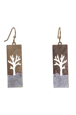 Two-Tone Tree of Life Earrings | Hypoallergenic and Nickel-Free