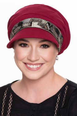 Uptown Slouchy Hat | Embellished 100% Organic Cotton Newsboy Cap-Uptown Cabernet