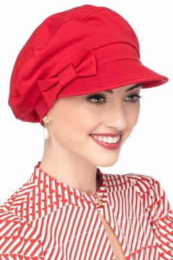 Versatility Newsboy Hat in Luxury Bamboo by Cardani | Luxury Bamboo - Cardinal Red