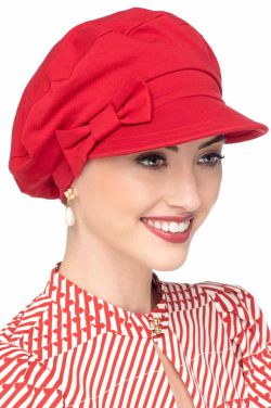 Ball Cap with Detachable Bow in Red