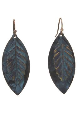 Patina and Gold Leaf Earrings | Hypoallergenic and Nickel-Free Earrings
