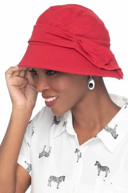 Violet Flapper Hat in Red | Vintage UPF 50+ Hat | 100% Cotton with Aloe Vera Lining