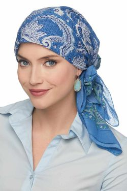 "Perth Paisley | 100% Cotton Woodblock Hand Stamped Head Scarves | 36"" Square Head Scarf"