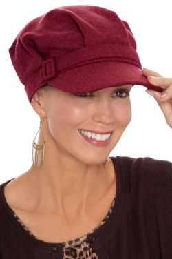 Bernice Buckle Cadet Cap in Wine | Newsboy Cadet Caps for Women