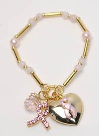 Polished Gold Tone Breast Cancer Awareness Charm Bracelet
