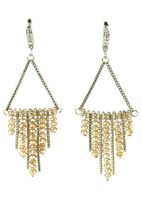 Gold Plated Triangle Dangle Earrings with Swarovski Crystal Drops | Nickel Free |