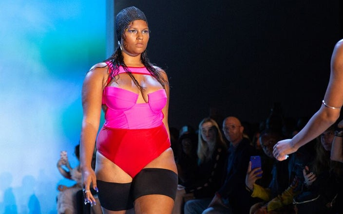 Headcovers Waffle Weave Swim Cap at New York Fashion Week with Chromat.
