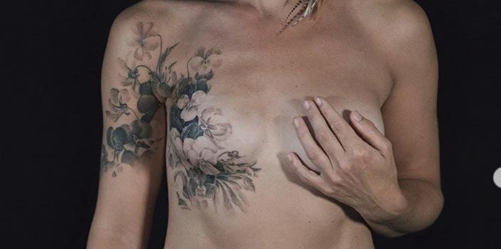 Floral Single Mastectomy Tattoo - David Allen